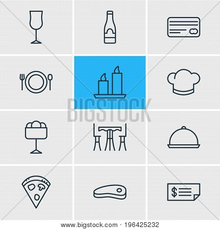 Editable Pack Of Food, Table, Account And Other Elements. Vector Illustration Of 12 Restaurant Icons.