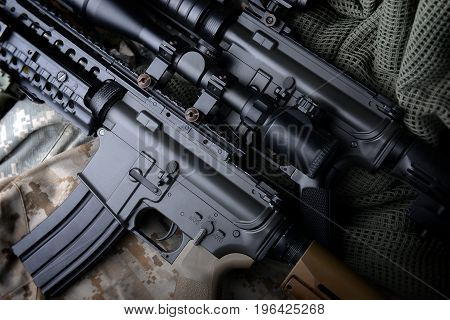 American Machine Gun In Army Background .