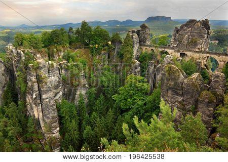 Mountain landscape with Bastei bridge in Germany