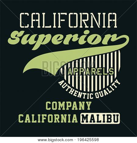 graphic design CALIFORNIA SUPERIOR APPARELS for shirt and print