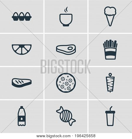 Vector Illustration Of 12 Food Icons. Editable Pack Of Sirloin, Container, Doner And Other Elements.