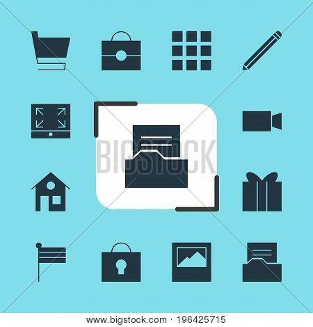 Editable Pack Of Video Camera, Trolley, House And Other Elements. Vector Illustration Of 12 Web Icons.