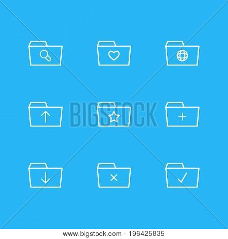 Editable Pack Of Done, Upload, Pinned And Other Elements. Vector Illustration Of 9 Document Icons.