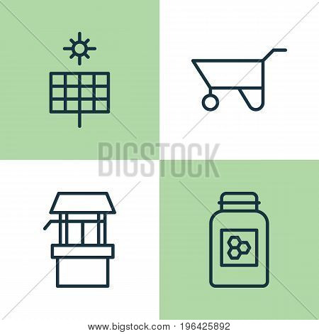 Farm Icons Set. Collection Of Sun Power, Source, Wheelbarrow And Other Elements