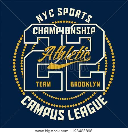 graphic design SPORTS CHAMPIONSHIP ATHLETIC for shirt and print