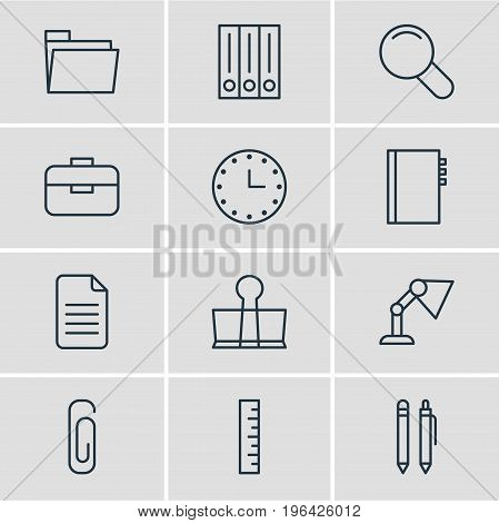 Editable Pack Of Illuminator, Binder Clip, Dossier And Other Elements. Vector Illustration Of 12 Instruments Icons.