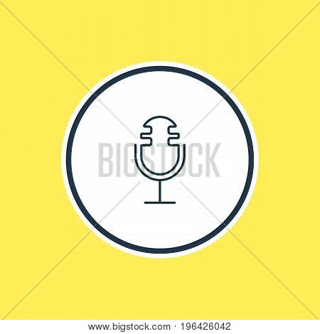 Vector Illustration Of Microphone Outline. Beautiful Hardware Element Also Can Be Used As Sound Recording Element.