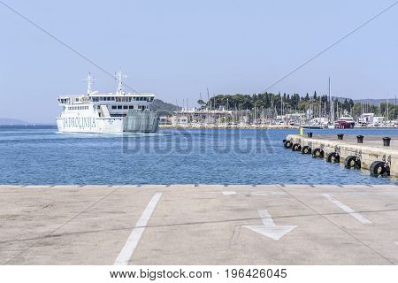 SPLIT, CROATIA - JULY 12, 2017: Sea ferry in the city of Split. Sea ferries in Croatia are the main transport between the islands.