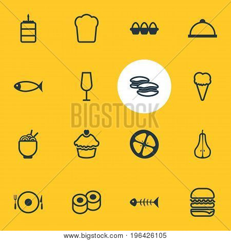 Editable Pack Of Love Apple, Seafood, Serving And Other Elements. Vector Illustration Of 16 Eating Icons.