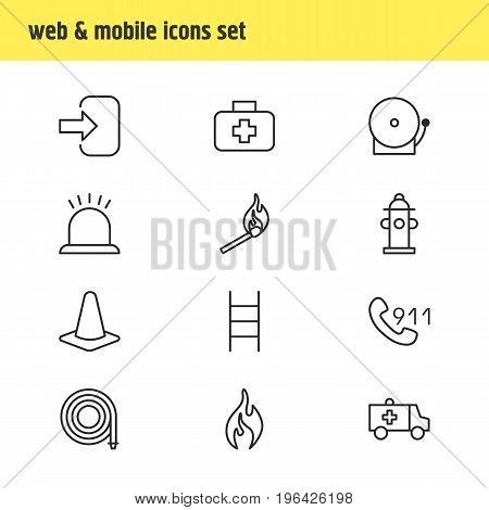 Editable Pack Of Fire, Taper, Door And Other Elements. Vector Illustration Of 12 Extra Icons.