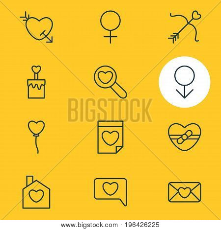 Editable Pack Of Valentine , Candle , Decoration Elements. Vector Illustration Of 12 Amour Icons.