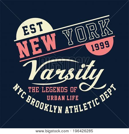 graphic design new york varsity brooklyn athletic for shirt and print