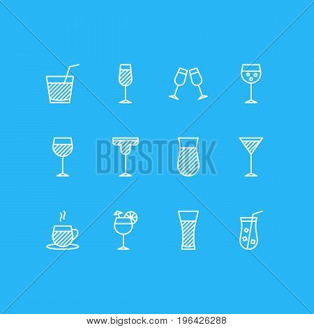 Vector Illustration Of 12 Drinks Icons. Editable Pack Of Glass, Celebrate, Drink And Other Elements.