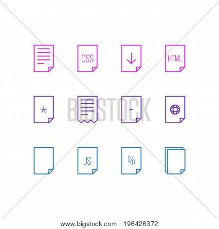 Editable Pack Of Code, Basic, Style And Other Elements. Vector Illustration Of 12 File Icons.