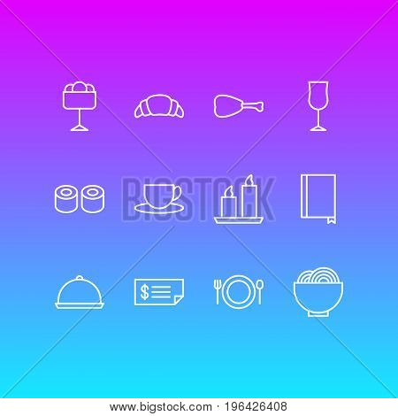 Vector Illustration Of 12 Eating Icons. Editable Pack Of Tray, Dessert, Sundae And Other Elements.