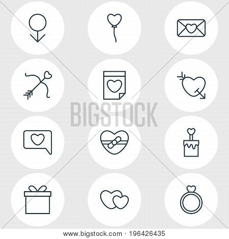 Vector Illustration Of 12 Passion Icons. Editable Pack Of Arrow , Candle , Valentine Elements.
