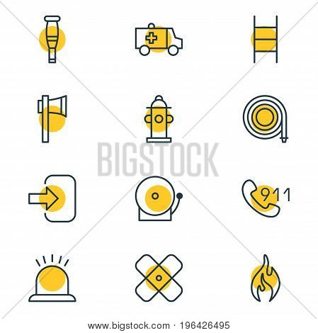 Editable Pack Of Siren, First-Aid, Spike And Other Elements. Vector Illustration Of 12 Emergency Icons.
