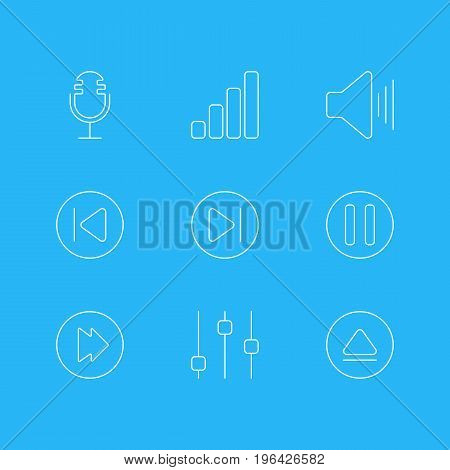 Editable Pack Of Preceding, Volume Up, Rewind And Other Elements. Vector Illustration Of 9 Melody Icons.