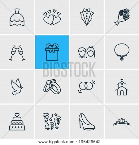 Editable Pack Of Couple, Pigeon, Building And Other Elements. Vector Illustration Of 16 Wedding Icons.