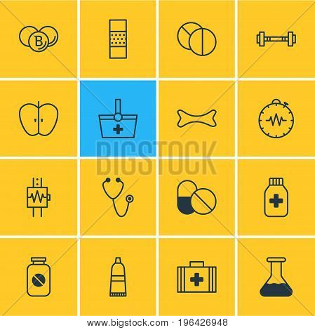 Vector Illustration Of 16 Medicine Icons. Editable Pack Of Fresh Fruit, Dumbbell, Painkiller And Other Elements.