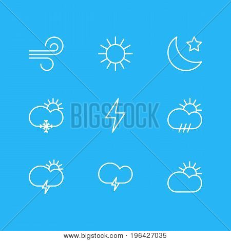 Vector Illustration Of 9 Sky Icons. Editable Pack Of Windstorm, Crescent, Sun And Other Elements.