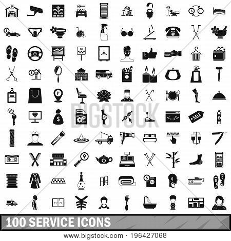 100 service icons set in simple style for any design vector illustration