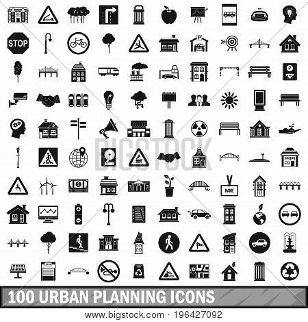 100 urban planning icons set in simple style for any design vector illustration