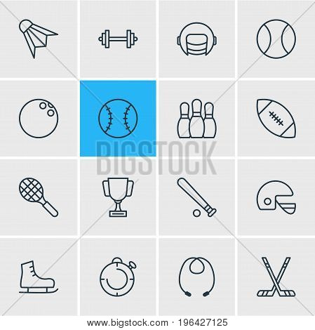 Vector Illustration Of 16 Fitness Icons. Editable Pack Of Ice Boot, Hockey, Batting And Other Elements.