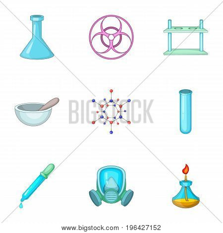Chemistry lesson icons set. Cartoon set of 9 chemistry lesson vector icons for web isolated on white background