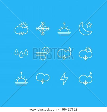 Vector Illustration Of 12 Sky Icons. Editable Pack Of Breeze, Weather, Snow And Other Elements.