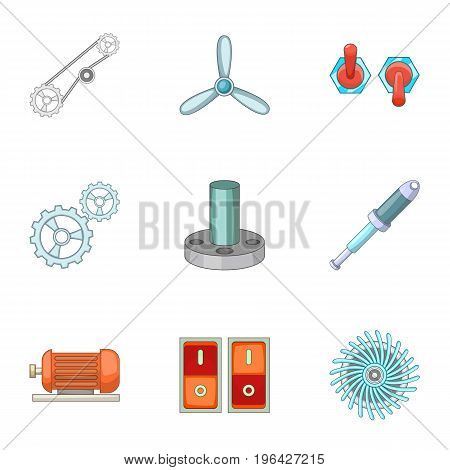 Engine parts icons set. Cartoon set of 9 parts vector icons for web isolated on white background