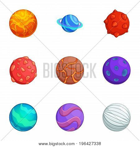 Fantasy colorful planets icons set. Cartoon set of 9 fantasy colorful planets vector icons for web isolated on white background