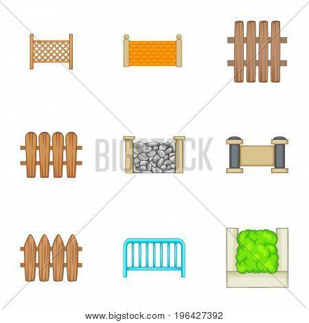 Decorative fences icons set. Cartoon set of 9 decorative fences vector icons for web isolated on white background