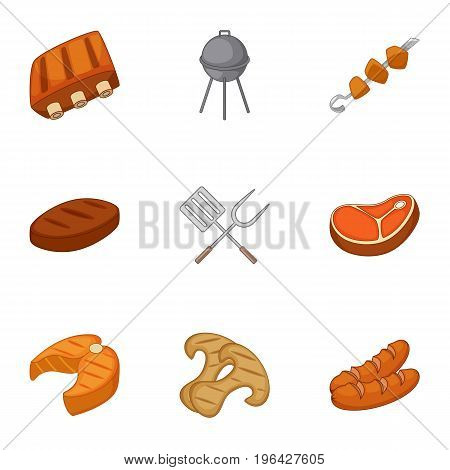 Cooking on barbecue icons set. Cartoon set of 9 cooking on barbecue vector icons for web isolated on white background