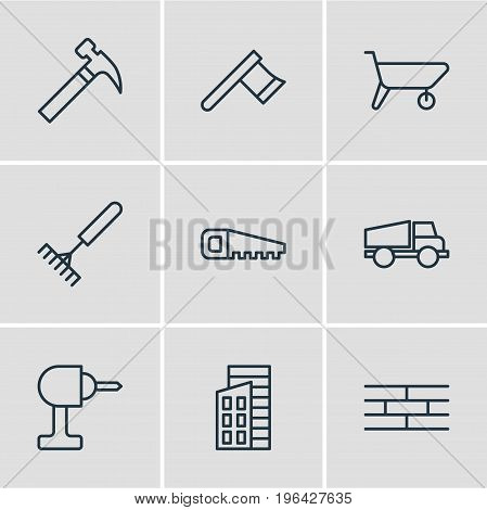 Vector Illustration Of 9 Structure Icons. Editable Pack Of Barrier, Handcart, Electric Screwdriver Elements.