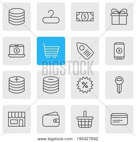 Vector Illustration Of 16 Commerce Icons. Editable Pack Of Mobile, Plus, Clef And Other Elements.