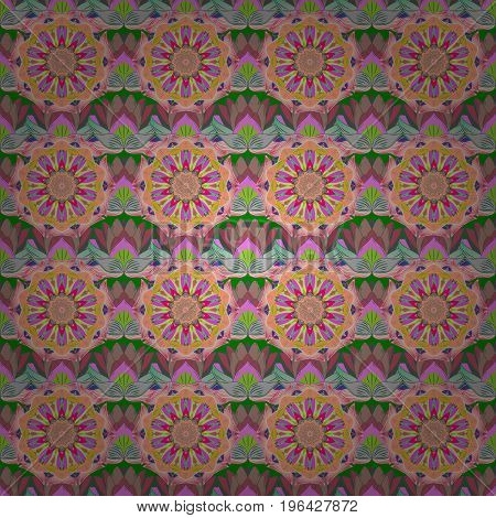 Flowers on colorful background. Vector floral pattern in doodle style with flowers. Gentle nice floral background.