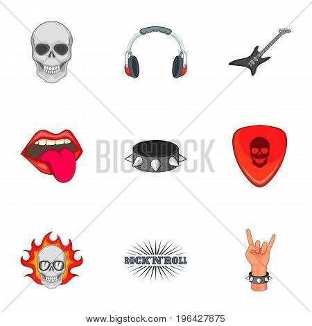 Rock n roll sticker icons set. Cartoon set of 9 rock n roll sticker vector icons for web isolated on white background