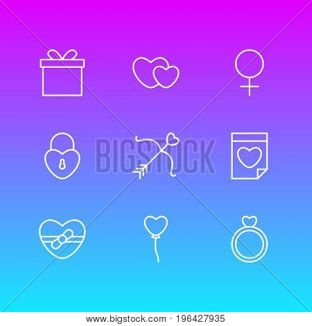 Vector Illustration Of 9 Amour Icons. Editable Pack Of Lock, Valentine, Hearts And Other Elements.