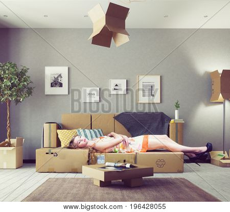 a first interor in the new house. Photo and 3d elements combination illustration