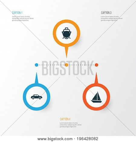 Transportation Icons Set. Collection Of Automobile, Yacht, Tanker And Other Elements