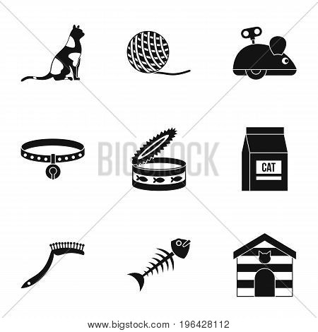 Cat things icons set. Simple set of 9 cat things vector icons for web isolated on white background