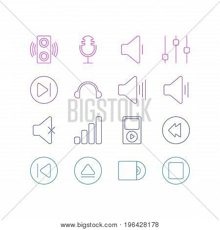 Editable Pack Of Rewind, Stabilizer, Subsequent And Other Elements. Vector Illustration Of 16 Music Icons.