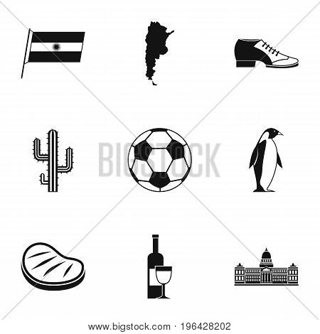 Typical Argentina icons set. Simple set of 9 typical Argentina vector icons for web isolated on white background