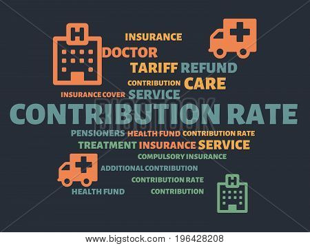 Contribution Rate - Image With Words Associated With The Topic Health Insurance, Word, Image, Illust
