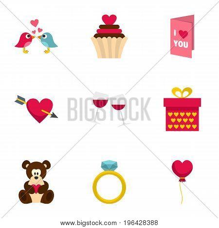 Valentine day and wedding icons set. Cartoon set of 9 valentine day and wedding vector icons for web isolated on white background