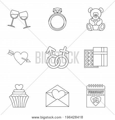 Valentine day icons set. Outline set of 9 valentine day vector icons for web isolated on white background