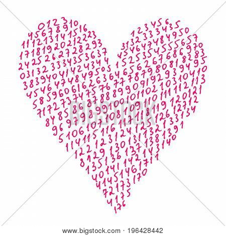 Abstract pink heart on white background with pattern from numbers hand drawn