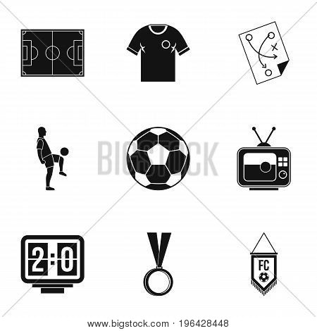 Football championship icons set. Simple set of 9 football championship vector icons for web isolated on white background
