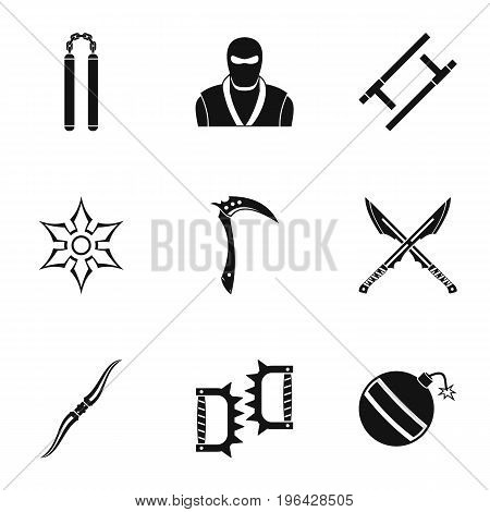 Ninja arsenal icons set. Simple set of 9 ninja arsenal vector icons for web isolated on white background